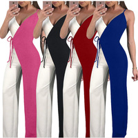 Women One Piece Set Outfits Sling Jumpsuits Sleeveless Patch Color Bodycon Long Pants Rompers Night Club Suit Strap Adjustable
