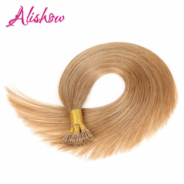 Alishow Pre Bonded Hair Extensions 1g 16 18 20 22 Remy Keratin Human Straight Platinum Blonde I Tip
