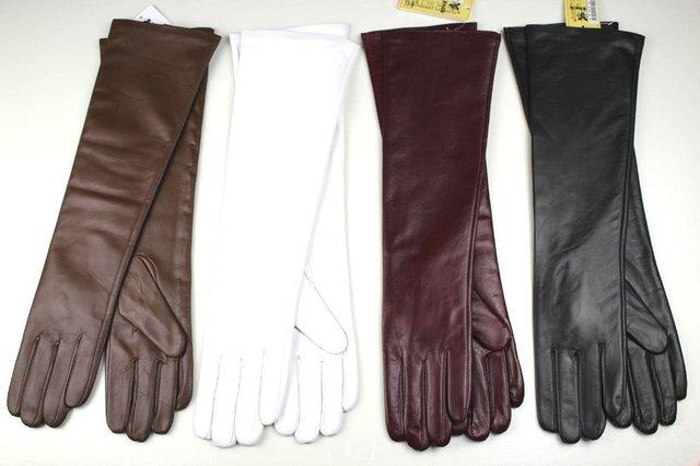 Guantes de piel de oveja, guantes de cuero 46 cm multicolor señora segmento recto es de cuero de alto grado guantes