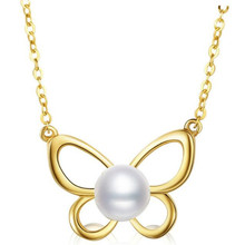 18K Yellow Gold Necklace 6-6.50mm Natural Freshwater Pearl Cute Animal Butterfly Pendant Necklace Promise Lover Gift Link Chain for w205 amg black front grille for mercedes c class w205 c205 s205 without centre logo