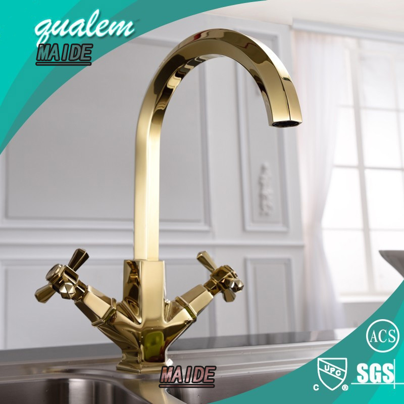 Charming Unique Design High Quality Solid Brass Golden Two Handle Kitchen Faucet  ,Polished Gold(China Pictures Gallery