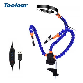 Toolour Third Arm Soldering Station USB LED Light Magnifier With 3pcs Flexible Arms Helping Hands For Repairing Welding PCB Tool