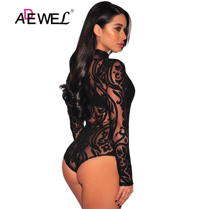 ADEWEL Black Stretchy Turtleneck Long Sleeve Sexy Lace Bodysuit 2019 New Spring Mesh Bodysuit for Women Rompers Body Feminino