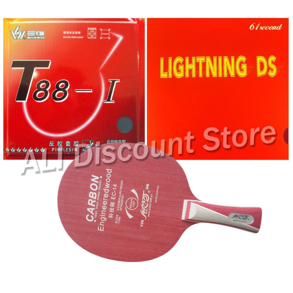 Galaxy YINHE EC-14 Table Tennis Blade With Sanwei T88-I and Lightning DS Rubber With Sponge for a Racket Long Shakehand  FL galaxy yinhe emery paper racket ep 150 sandpaper table tennis paddle long shakehand st
