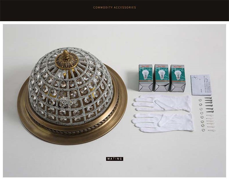 European Antique Gold Crystal Ceiling Lamp - Ceiling Lamps