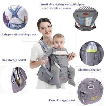 SUNVENO Ergonomic Baby Carrier Infant Baby Hipseat Waist Carrier Front Facing Ergonomic Kangaroo Sling for Baby Travel 0-36M 2