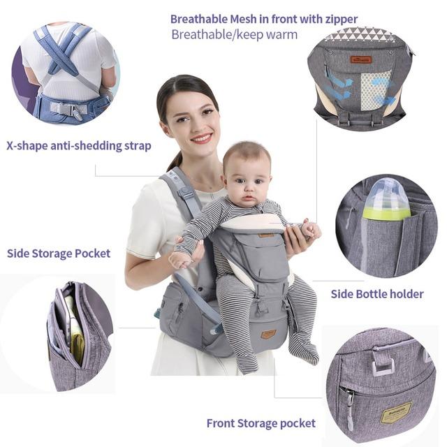 Ergonomic Baby Carrier Infant Baby Hipseat Waist Carrier Front Facing Ergonomic Kangaroo Sling for Baby Travel 0-36M