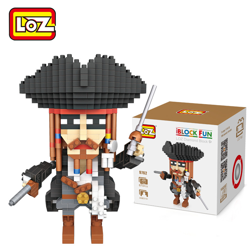 New Arrivals 9762 Jack Sparrow Captain LOZ Mini Building Blocks Model Toys Kid Gifts DIY Classic Assembled Blocks Children Toys 4pcs lot loz christmas gifts doraemon