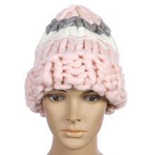цены New The Korean  Knitting Wool Caps Woman Shag Line Warm Winter Hats Brand Skullies Beanies Three Color Stitching Handwork hat