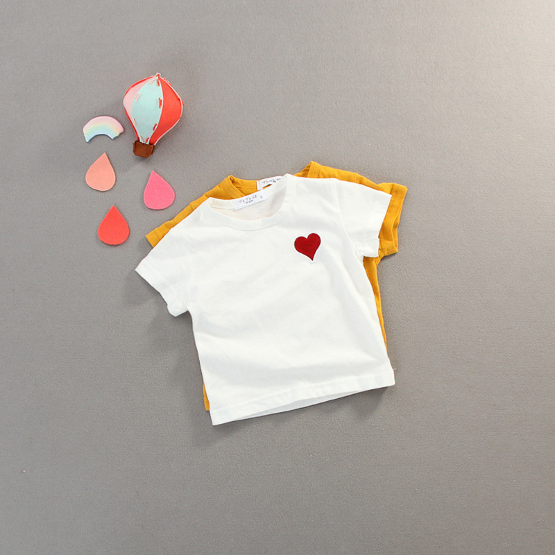 2018 Carters Menino Loja Oficial Tiny Cottons Summer Childrens Clothing 0-3 Year Old Girl Love T-shirt Casual Cotton Shirt