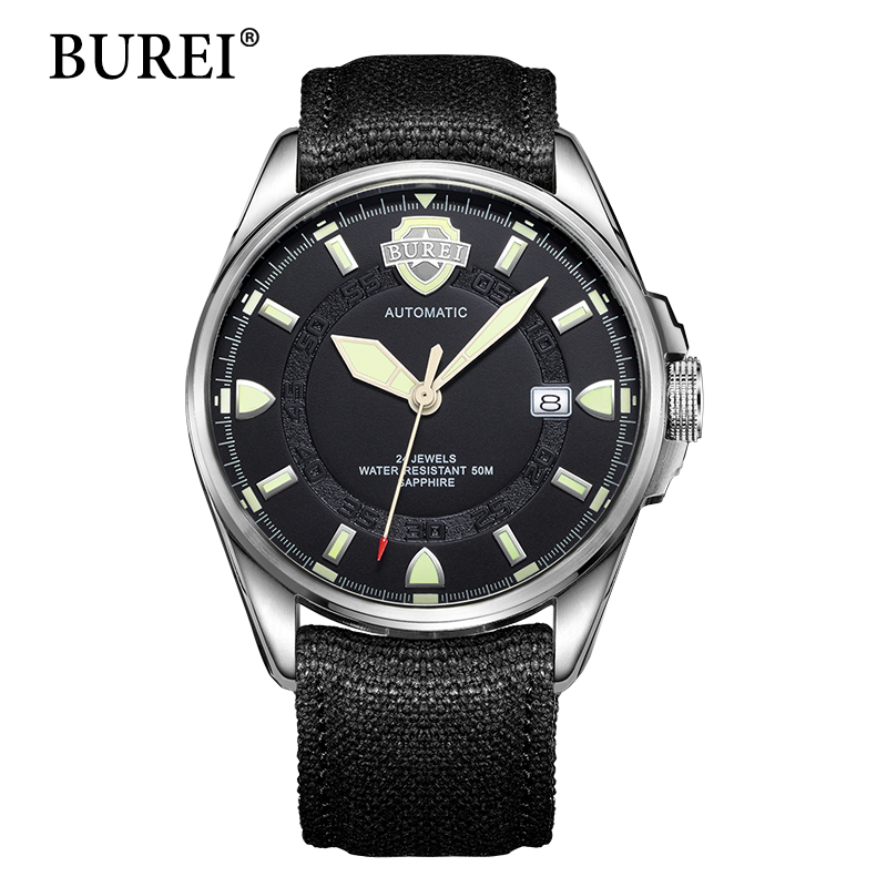 Men Mechanical Watches BUREI Top Fashion Brand Date Clock Military Wristwatches Canvas Waterproof Sapphire Automatic Watch Hot burei woman watch top fashion brand female clock diamond sapphire mechanical wristwatches gold steel band waterproof watches hot
