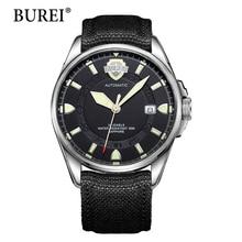 Erkekler mekanik saatler burei üst moda marka tarih saat askeri saatı tuval su geçirmez safir otomatik İzle sıcak