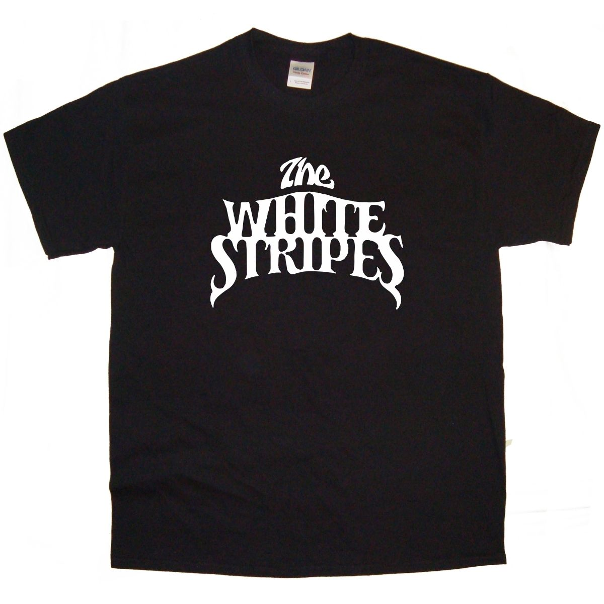 Black t shirt with white stripes - The White Stripes Band Logo Rock Thrash Black Heavy Metal Punk Pop T Shirt Tee