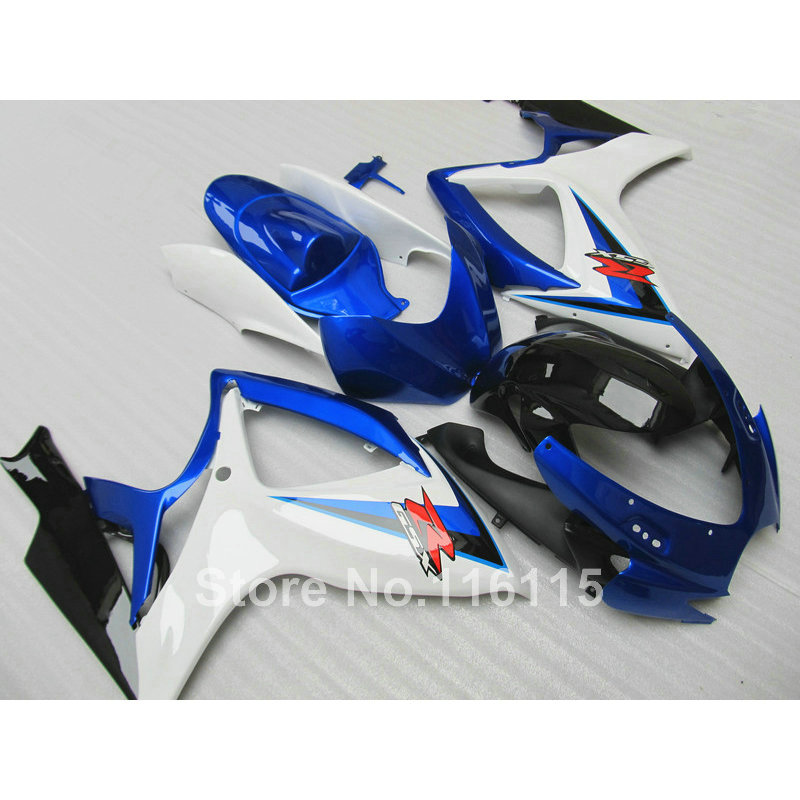 цена на High quality 100% Fit for SUZUKI GSXR 600 750 fairing kit K6 K7 2006 2007 white blue black GSX-R600 GSX-R750 06 07 fairings