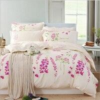 Flores roxas 100% Algodão conjunto beding Queen size confortável impressão 4 pcs beding define Quilt cover + folha de Cama + 2 Fronha