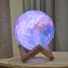 Dropship New Arrival 3D Print Star Moon Lamp Colorful Change Touch Home Decor Creative Gift Usb Led Night Light Galaxy