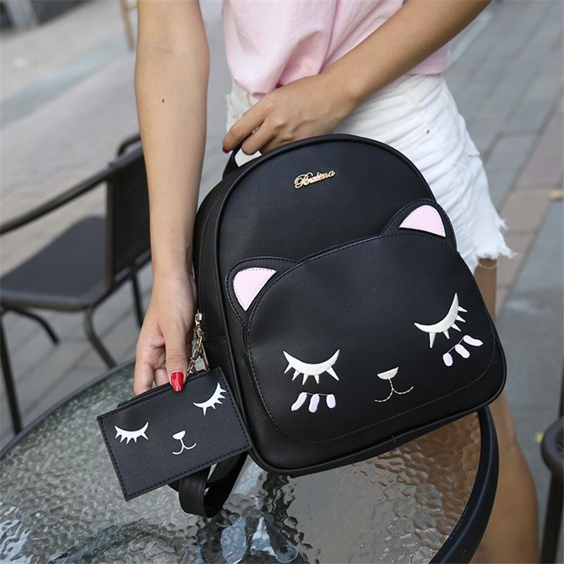ACE LOVE women black cat rucksack cute shoulder composite bag hotsale lady purse shopping bags preppy style student packpack 5