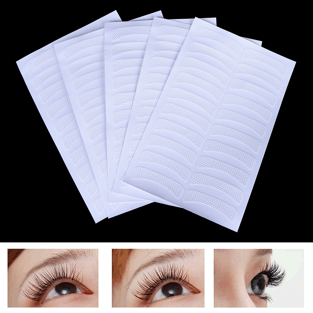 5 Sheets White Eye Eyelash Extension Fabrics Pads Stickers Patches 100Pcs Women Girls Eyelash Adhesive Tapes Makeup Beauty Tools