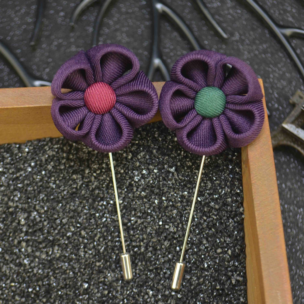 New Men's Lapel Flower Sun Flower Brooches Handmade Boutonniere Stick Brooch Pin For Mens Suit Accessories Wholesale 18 PCS/LOT