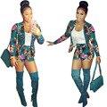 Pantalones Mujer Quente Poliéster Algodão Completo Elástico Na Cintura Estilo De 2016 Invernos do Outono Impresso Sexy Longa-Calça de manga comprida Terno