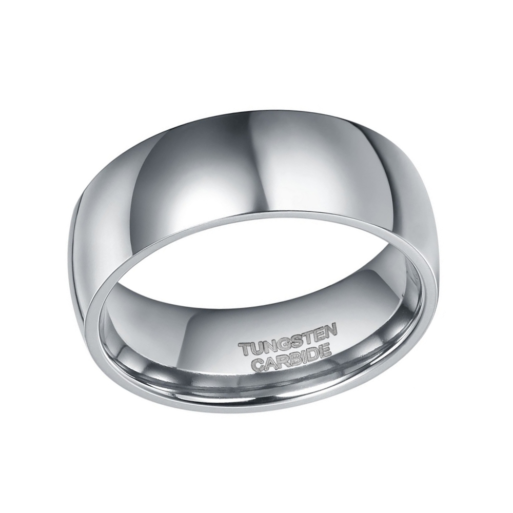 Somen Ring Men 8mm Gümüşü Rəngli Volfram Üzük Günbəz Cilalı - Moda zərgərlik - Fotoqrafiya 3