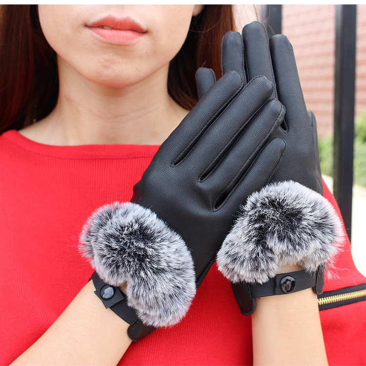 KUYOMENS 2016 New Arrive fashion women Anti rabbit touch screen washed leather ladies short winter gloves