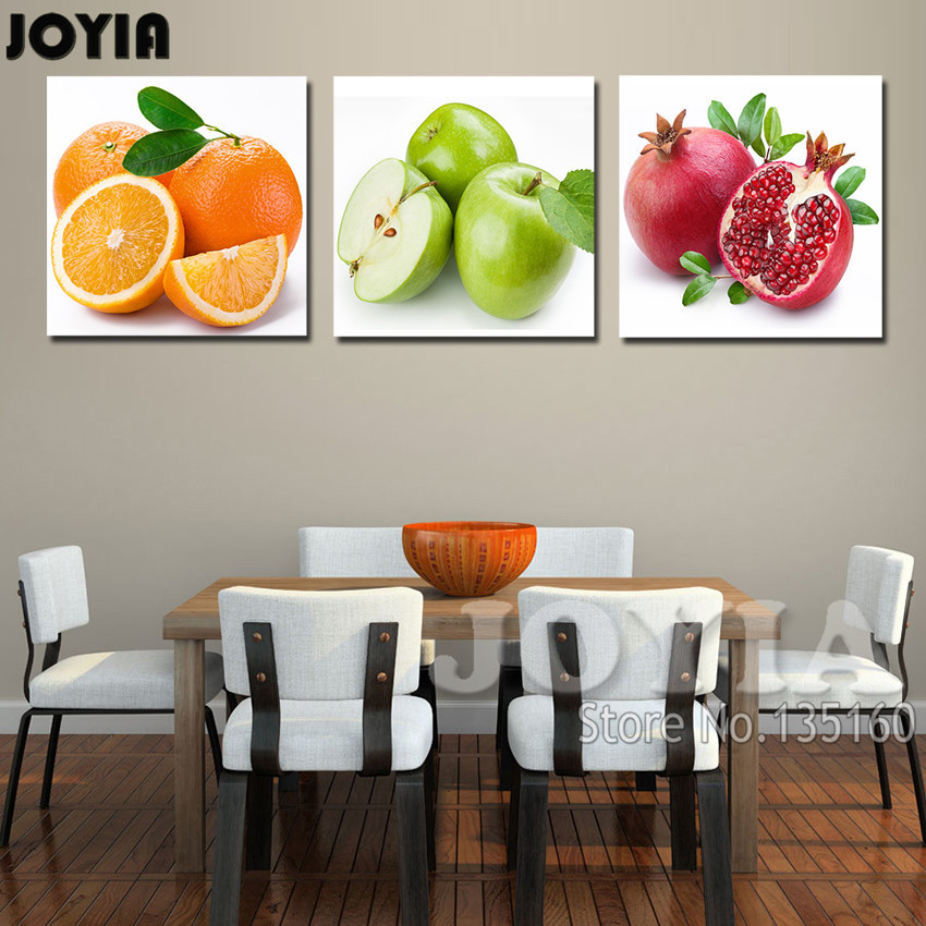 3 Piece Fruit Paintings Kitchen Dinning Decor Wall Pictures Apple Orange Pomegranate Modern