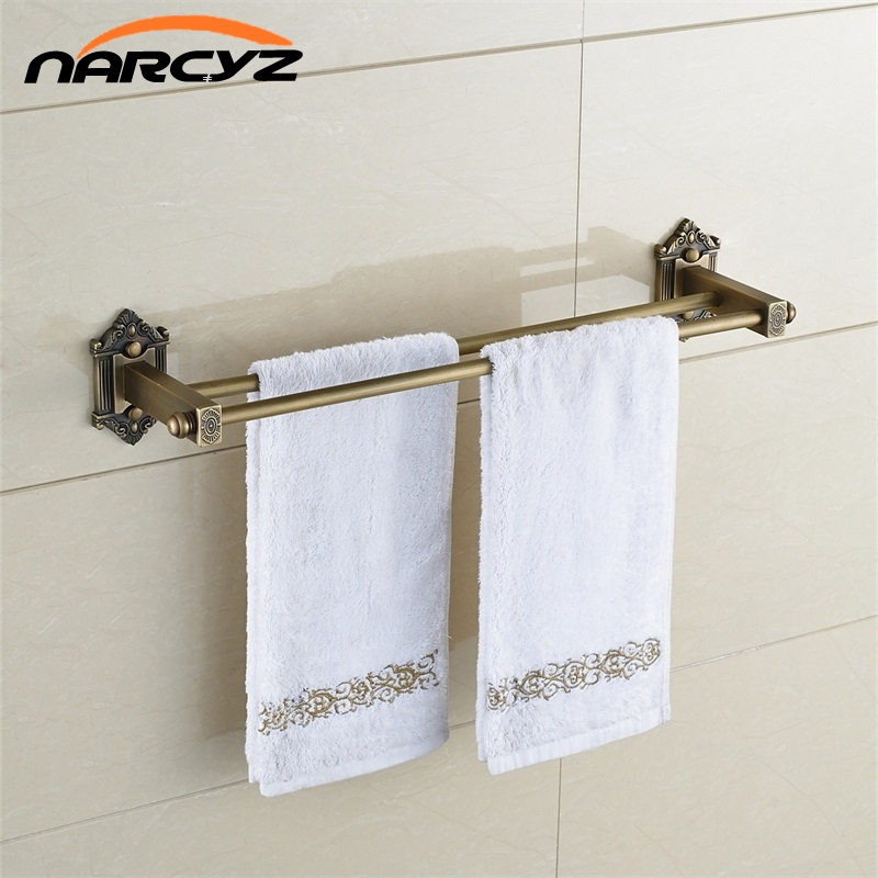 Towel Bars 2 Rails Brass Wall Shelf Towel Holder Bath Shelves Hangers Bathroom Accessories Antique Double Towel Racks 9128K bathroom shelves dual tier brass wall bath shelf towel rack holder hangers rails home decorative accessories towel bar 9129k