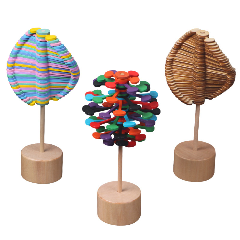 Wooden Colorful Rotating Rod Decompression Toy Creative Lollipop Office Decompression Game Mood Fine Tuning Toy Children's Gift