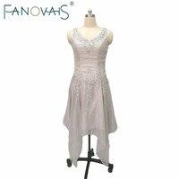 الفضة الديكور الأم من فساتين العروس زائد الحجم مع الستر 2017 الشاي طول أم فستان العريس ملابس طويلة الأكمام