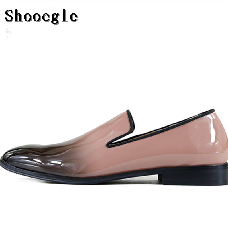 SHOOEGLE High Quality Men Party Shoes Handsome Black Pink Patch Color Leather Dress Shoes Large Men Loafers Moccasins 38-47 ...