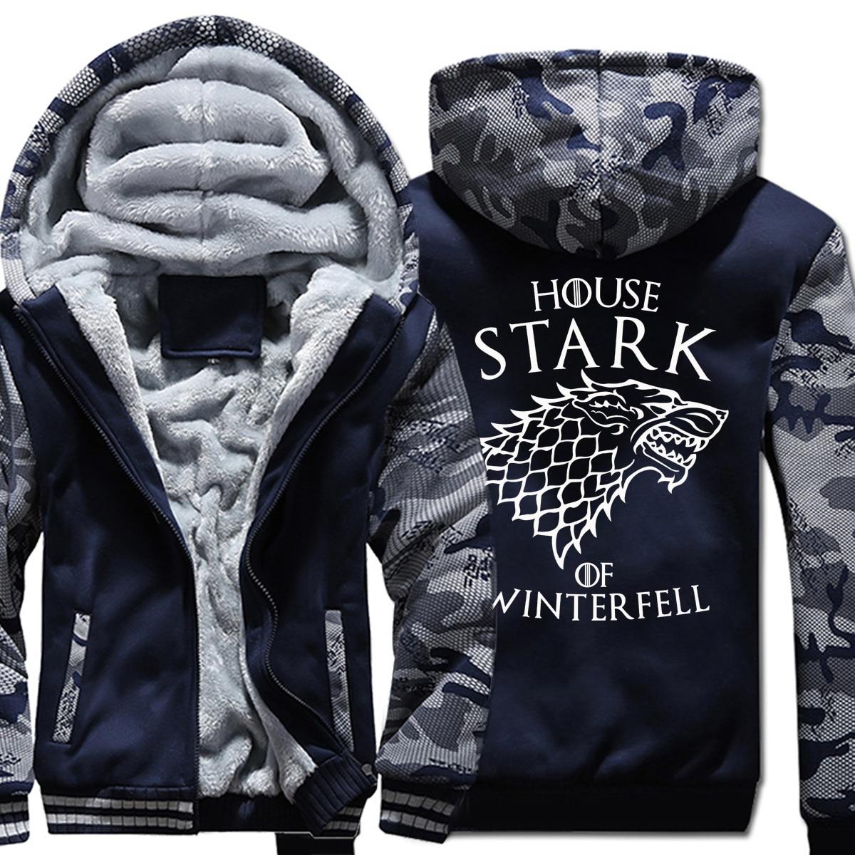 Casa Stark Inverno Sta Arrivando Con Cappuccio 2018 Inverno Game of Thrones Uomini Camouflage Spessore Felpe Fitness Sportwear Hoody Harajuku