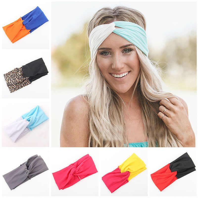 Woman Stretch Twist Turban Headband Sport Yoga Headbands for Women Leopard  hijab Headscarf Bandana Girls Hair 3e7ed7650b49