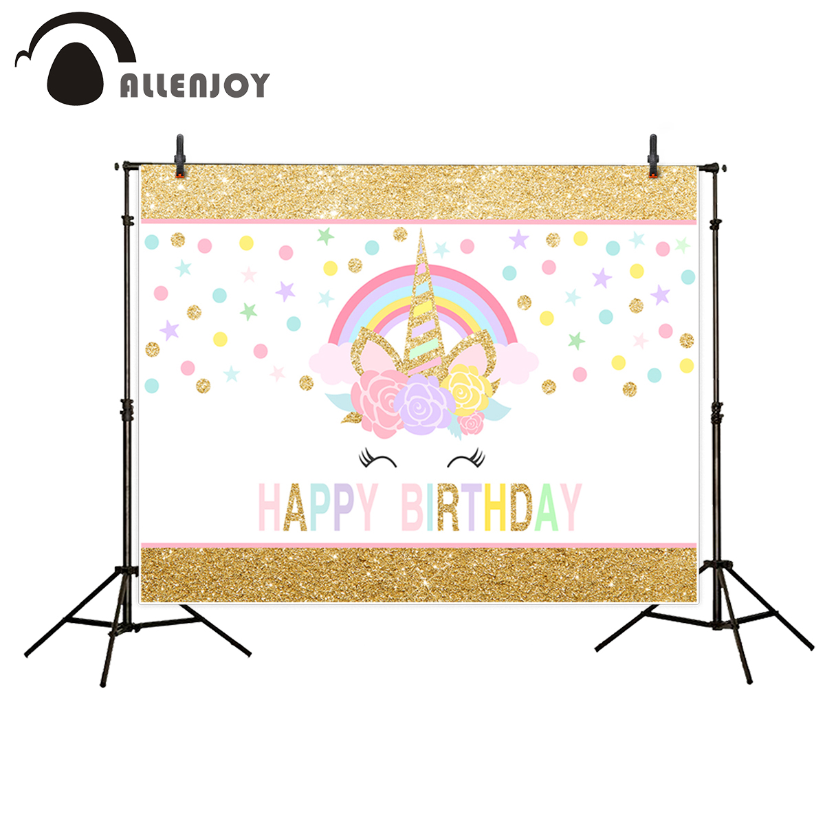 Allenjoy photography backdrop colorful unicorn birthday sweet luxury background photo studio fantasy prop printed professional fabric birthday party backdrop balloon and paper craft photography backdrop for photo studio photography background s 2132 c