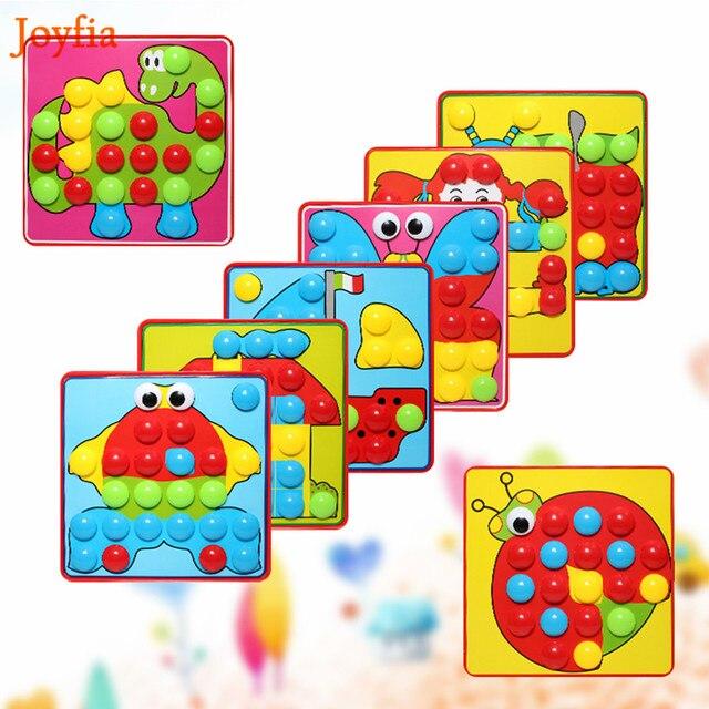 3D Puzzles jouet champignon ongles Kit mosaïque Composite bouton Art image intellectuel Puzzle jouets éducatifs pour enfants>