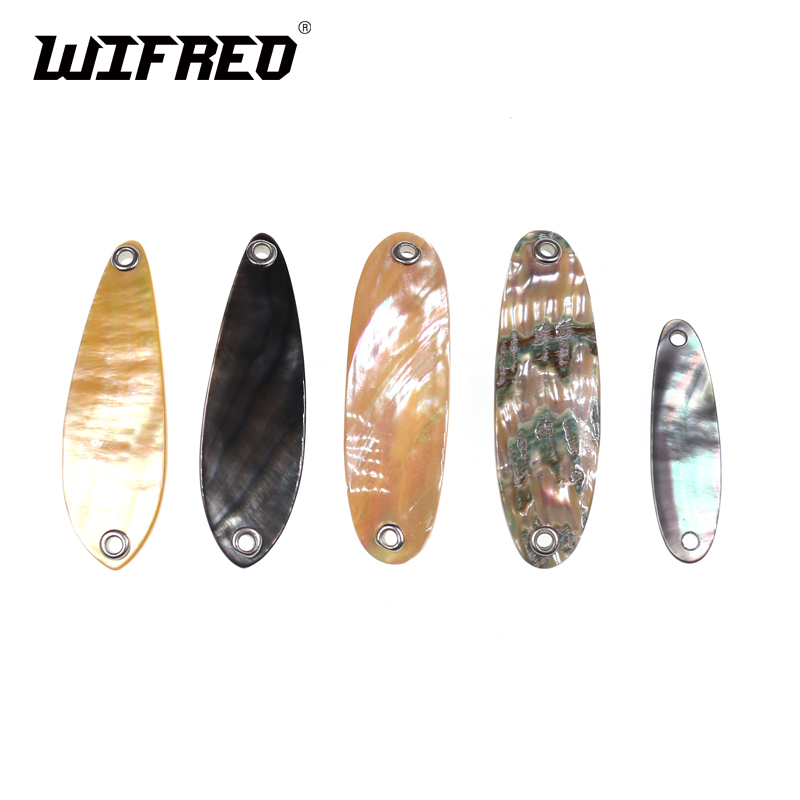 Wifreo 1PC Natural Color Abalone Shell Spoon For Fishing Lure Shell Lures Strip Genuine Paua Abalone Pearl Shell With Hole