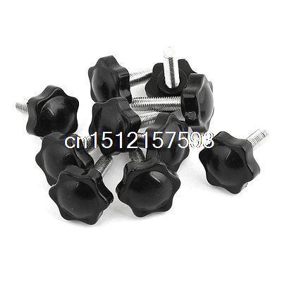 10 Pieces M8 x 30mm Male Thread 32mm Hex Shaped Head Clamping Screw Knob Black 20pcs m3 6 m3 x 6mm aluminum anodized hex socket button head screw