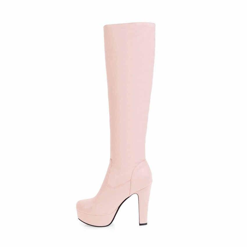 QUTAA 2020 Kadın Diz Yüksek Çizmeler PU Deri kayma Sentetik Moda Yuvarlak Ayak Tüm Maç Platformu Bayanlar Uzun Ayakkabı boyutu 34-43