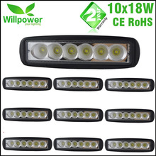 10 pcs 6 Inch Spot Flood single row 18W 4×4 truck offroad car LED work Light Bar for JEEP 12 volt