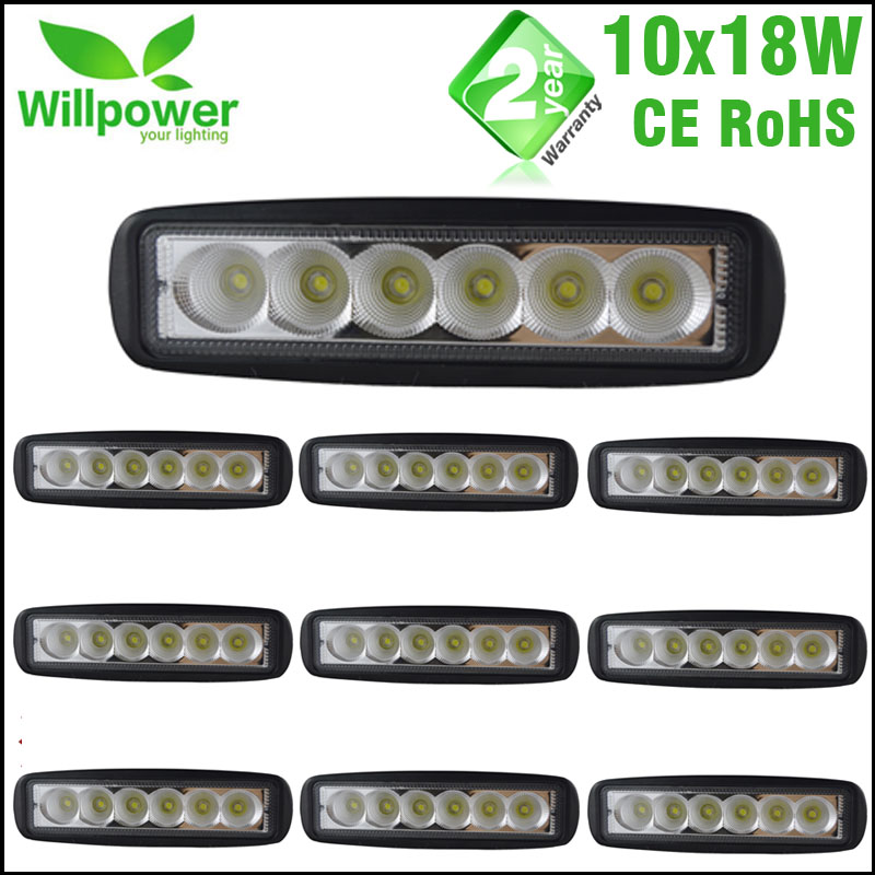 Prix pour 10 pcs 6 Pouce Spot D'inondation seule rangée 18 W 4x4 camion offroad voiture LED travail Light Bar pour JEEP 12 volts