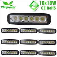 10 Pcs Free Shipping 6 Inch Spot Flood Single Row 18W 4x4 Truck LED Work Light