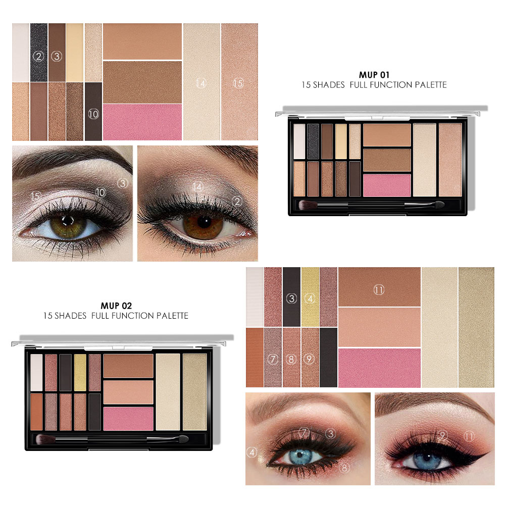 O TWO O 15 Full Colors Eyeshadow Palette Matte Eye Shadow Palette Pigment Glitter Makeup Eyeshadow Palettes Nude Shadows 6052 in Eye Shadow from Beauty Health
