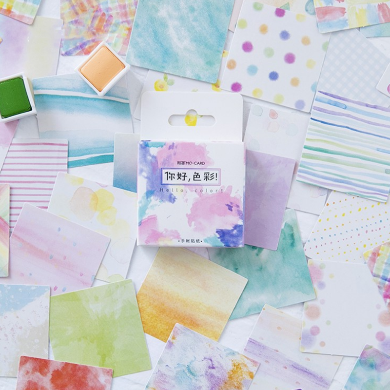 45 Pcs/pack Lovely Colorful Watercolor Decorative Sticker DIY Scrapbooking photo Label Diary Album Sticker