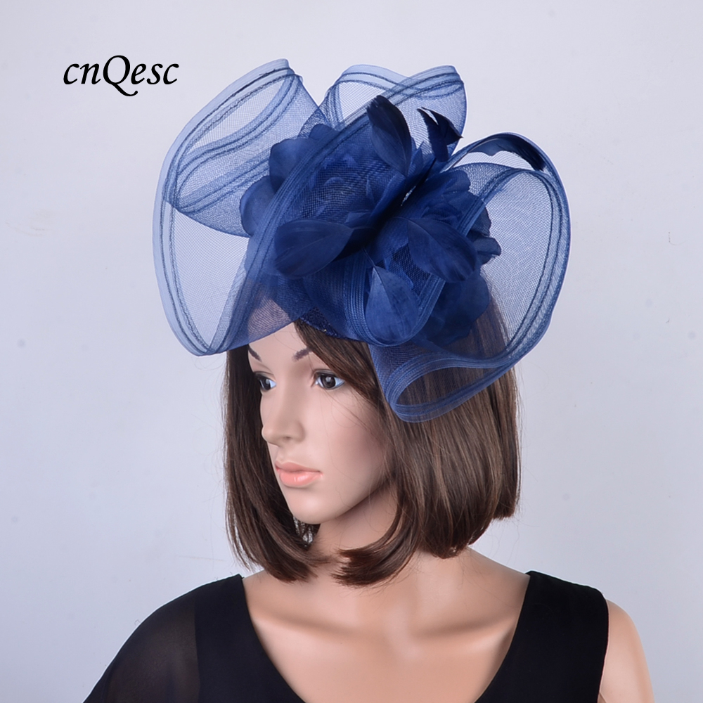 c51834ce4009e LARGE navy blue crin fascinator hair accessories with feathers and silk  flower for Kentucky Derby,wedding,party,races,-in Women's Hair Accessories  from ...