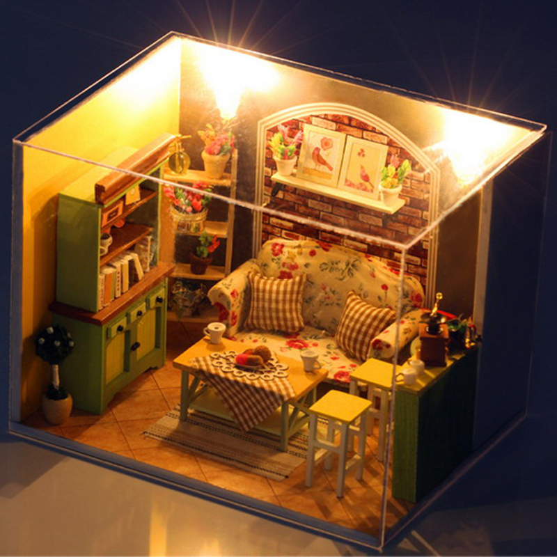 Isla verde té 3D de madera casa de muñecas muebles miniatura - Muñecas y peluches - foto 4