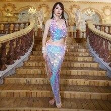 Women Belly Dance Costume Set Lady Mermaid sequined hip towel bellydance Top+ Hip scarf Wrap Belt Sequin Fish Scale Dancewear