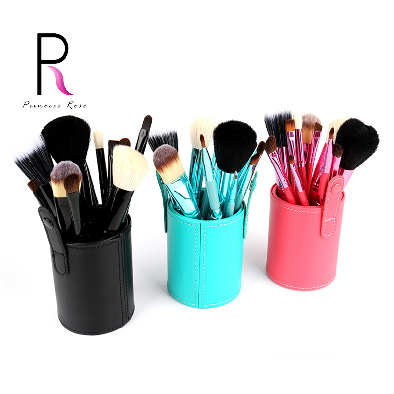 Princess Rose 12pcs Make Up Brush Set Makeup Brushes Kit Pinceis Maquiagem Pincel Pinceaux Maquillage +Leather Brush Holder 12pcs face blending brush makeup brushes set cosmetic make up tools with holder maquillage kit professional pincel de base bl333