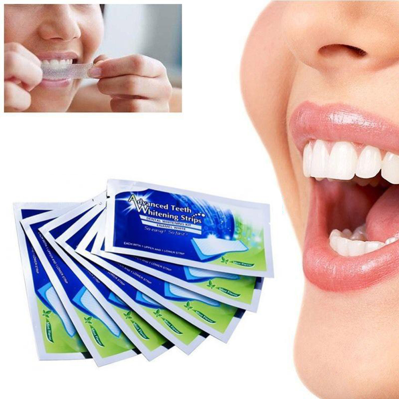 2Pcs/1pair Home Teeth Whitening Strips Dental Bleaching Oral Hygiene Care For False Teeth Veneers Perfect Dentist  TSLM2