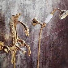 Настенные золотой отделкой лебедь ванны смеситель для ванны с душем с ручным душем лебедь ручки Роскошные водопроводной воды