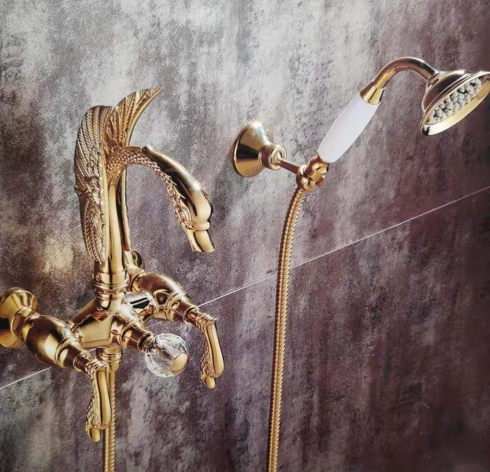 FREE SHIP Wall Mounted Golden Finish SWAN Bath Shower Bathtub Faucet WITH Hand Shower Swan Handles Luxury Tap